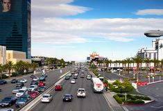 Famous Las Vegas, Attractions, Boulevard, Nevada, USA. Famous Las Vegas  - Highway traffic. Boulevard attractions. Nevada, USA Royalty Free Stock Image