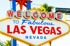 Famous Las Vegas sign on bright  day Stock Photos