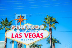 Famous Las Vegas sign on bright Stock Photos
