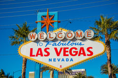 The famous las vegas sign on bright sunny day Stock Photo