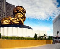 Famous Las Vegas Strip, MGM Lion, Boulevard, Nevada, USA. Famous Las Vegas strip -  Boulevard attraction. Lion at MGM and Tropicana Hotel - Casino resort. Nevada Royalty Free Stock Photography