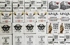 Famous Latin phrases used for souvenirs in Rome I came, I saw, I conquered - seize the day. Rome, Italy royalty free stock photo