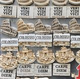 Famous Latin phrases used for souvenirs in Rome, Italy royalty free stock images