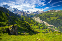 Free Famous Lauterbrunnen Valley With Gorgeous Waterfall And Swiss Alps Stock Images - 82304724