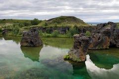 Famous lava columns at the Myvatn lake, Iceland Royalty Free Stock Image