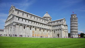 Famous leaning tower at Cathedral Square in Pisa, Italy stock video