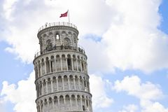 The famous Leaning Tower photographed from an unusual point of view Italy - Tuscan - Pisa - Image with copy space.  royalty free stock photography