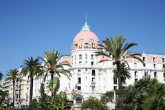 The famous Les Negresso Hotel in Nice France. The most famous hotel on the Prom des Anglais Nice la Belle France Royalty Free Stock Photography