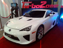 The Famous Lexus LFA. The Lexus LFA is powered by a 72-degree bank angle 4.8-liter V10 engine equipped with dual VVT-i carrying the 1LR-GUE designation with a Stock Photos