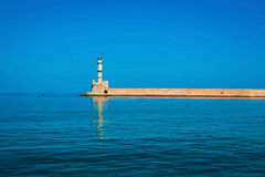 Famous lighthouse in bay in Chania Royalty Free Stock Photography