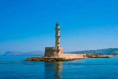 Famous lighthouse in bay in Chania Stock Photography