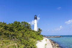 Famous lighthouse at Cape Florida at Key Biscayne Royalty Free Stock Images