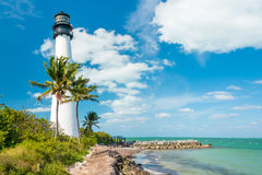 Famous lighthouse at Key Biscayne, Miami. Famous lighthouse at Cape Florda in the south end of Key Biscayne , Miami royalty free stock images
