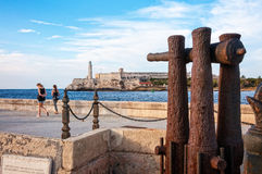 Famous lighthouse in Old Havana seen from Malecon. Royalty Free Stock Images
