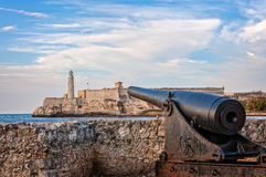Famous lighthouse seen from Malecon, Old Havana, Cuba. Havana, Cuba - March 6, 2016: Historic sea fortresses on both sides of the mouth of the Harbor in Old Stock Photography