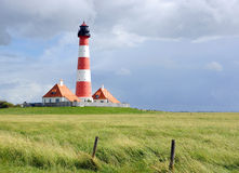 Famous Lighthouse in Westerhever, Germany Royalty Free Stock Photo