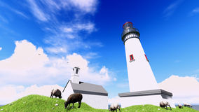 Famous lighthouse in westerhever, North Sea Royalty Free Stock Images
