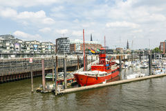 Famous Lightship LV 13 serves nowadays as Restaurant in Hamburg Stock Photos