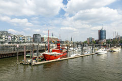 Famous Lightship LV 13 serves nowadays as Restaurant in Hamburg Stock Photo