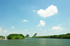 Famous limestone cliffs of Krabi bay Royalty Free Stock Photos