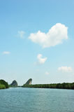 Famous limestone cliffs of Krabi bay Stock Photo