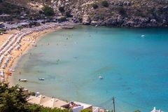 Lindos bay, Rhodos, Greece. Famous Lindos bay on Rhodos island, Greece stock photo