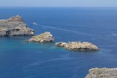 Lindos bay, Rhodos, Greece. Famous Lindos bay on Rhodos island, Greece royalty free stock photos