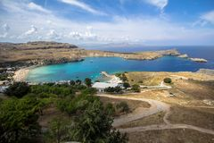 Lindos bay, Rhodos, Greece. Famous Lindos bay on Rhodos island, Greece royalty free stock images