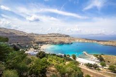 Lindos bay, Rhodos, Greece. Famous Lindos bay on Rhodos island, Greece royalty free stock photo