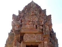 Famous lintel `Reclining Vishnu Reclining Pra Narai` above the entrance to the central sanctuary of Prasat Hin Phanom Rung royalty free stock photo