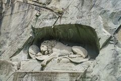 The famous Lion Monument at Lucerne Stock Image