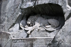 Famous lion monument in lucerne Stock Image