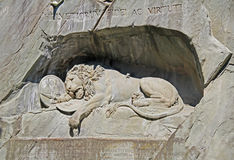 Famous lion monument in Lucerne, Switzerland. Switzerland. Famous lion monument in Lucerne Royalty Free Stock Photography