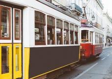 Famous Lisbon trams. Famous Lisbon trams on the street Stock Photo