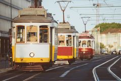 Famous Lisbon trams. Famous Lisbon trams on the street Royalty Free Stock Image