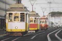 Famous Lisbon trams. Famous Lisbon trams on the street Stock Image