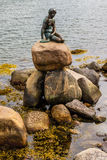 Famous little mermaid statueDen lille Havfrue of Copenhagen, Denmark. Stock Photo