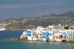 Famous Little Venice quarter of Mykonos town, Mykonos island, Gr Royalty Free Stock Photo