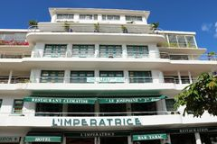 L`Imperatrice hotel in Fort de France, Martinique. Famous, located in front of the Savane park, boutique hotel L`Imperatrice. With its Creole charms, it is one Stock Image