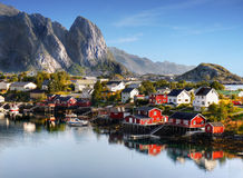Famous Lofoten, Norway Landscape, Nordland. Distinctive scenery with mountains and peaks on Lofoten islands. Nordland, Norway