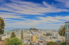 Famous Lombard Street on Hills in San-Francisco in California, U Royalty Free Stock Photos
