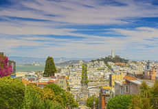Famous Lombard Street on Hills in San-Francisco in California, U Royalty Free Stock Photo