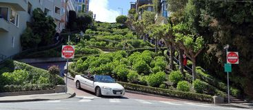 Famous Lombard street in San Francisco stock photos