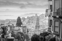 Famous Lombard Street in San Francisco at sunrise royalty free stock photography
