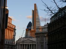 Famous London buildings. The Bank of England, the Gherkin and the Cheese Grater London Skyline Stock Photography