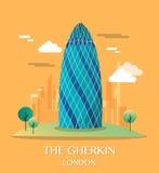 Famous London Landmark The Gherkin Illustration Royalty Free Stock Images