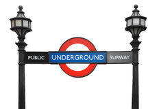 Famous London public underground subway sign with street lamps Stock Photography