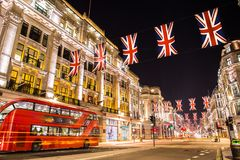 Famous London Regent Street at night England. Amazing night photography in London England , spectacular Regent Street at night London bus Stock Image