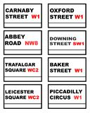 Famous London road signs. Set of eight famous London road signs isolated on white background Royalty Free Stock Photos