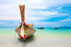 Famous longtail boats off the coast of Thailand Stock Image